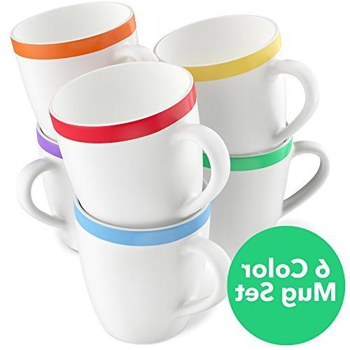 Vremi 12 Mugs Set - White Mugs Women and Men - Tea Mug Set with Decorative Red Orange Green Purple Trim Microwave and Dishwasher