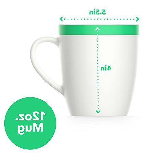 Vremi oz Coffee Mugs - Porcelain Mugs Men - Tea Mug Set Cool Decorative Red Yellow Green Trim Microwave and Dishwasher Safe