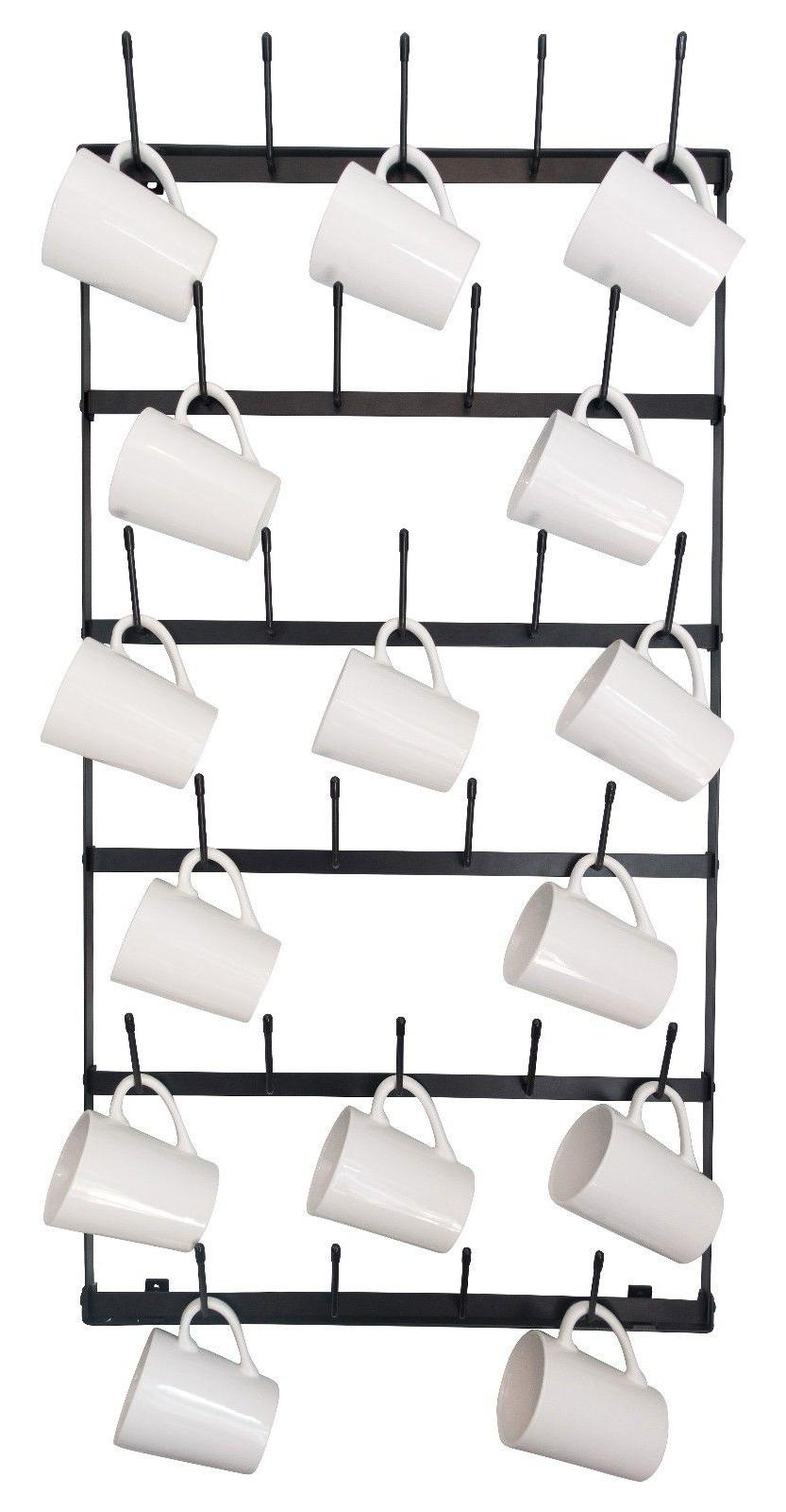 Wall Mounted Mug Rack - 6 Row Metal Storage Display For Coff