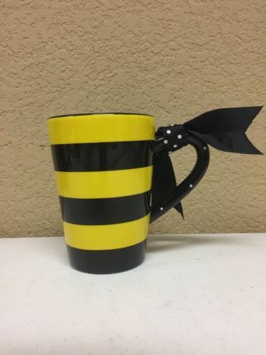 Whimsical Queen Bee oz Coffee Mug Polka Bow Handle