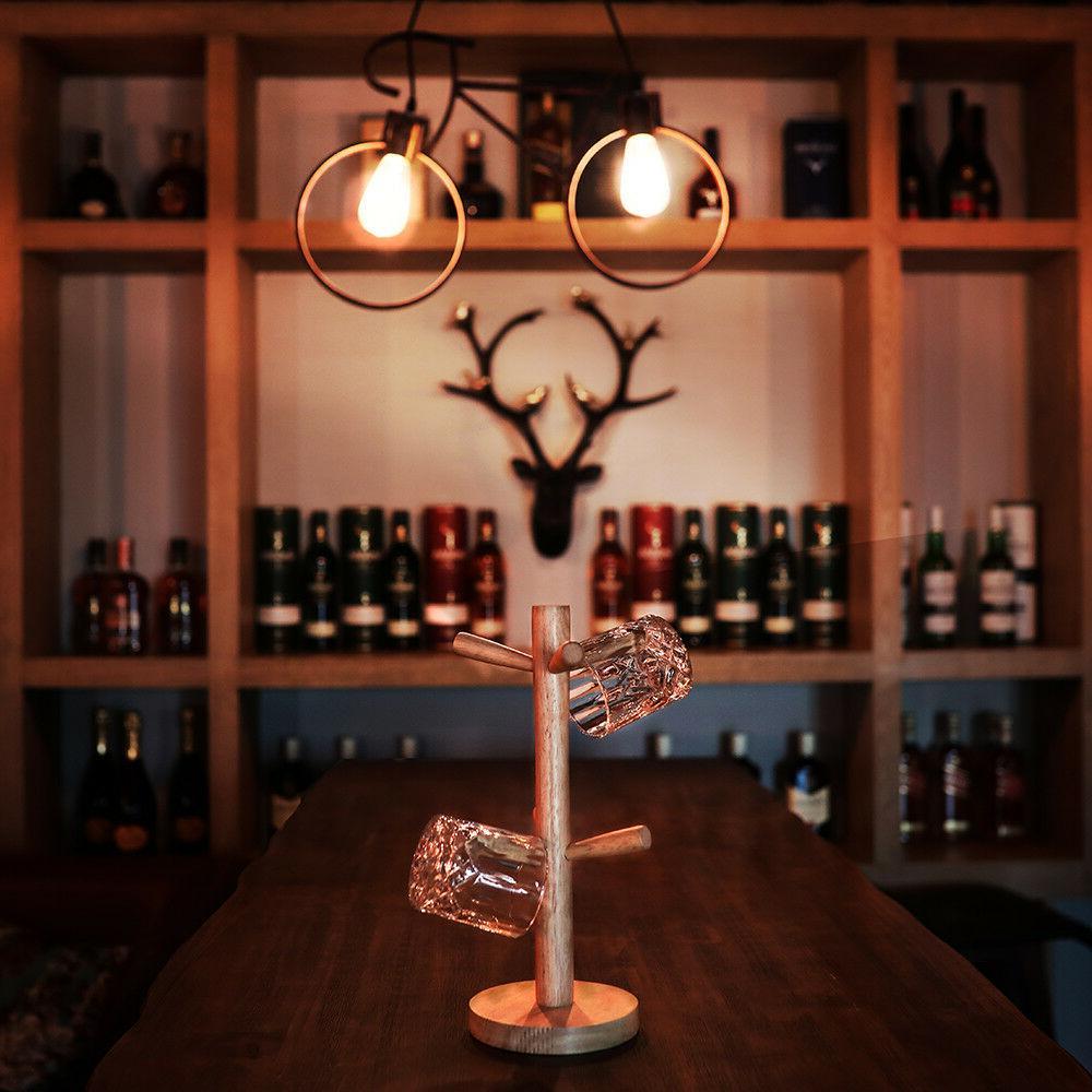 Wooden Tree Stand Kitchen Coffee Glass Rack Tree Storage Holder