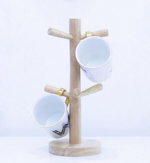 wooden mug tree stand kitchen coffee glass