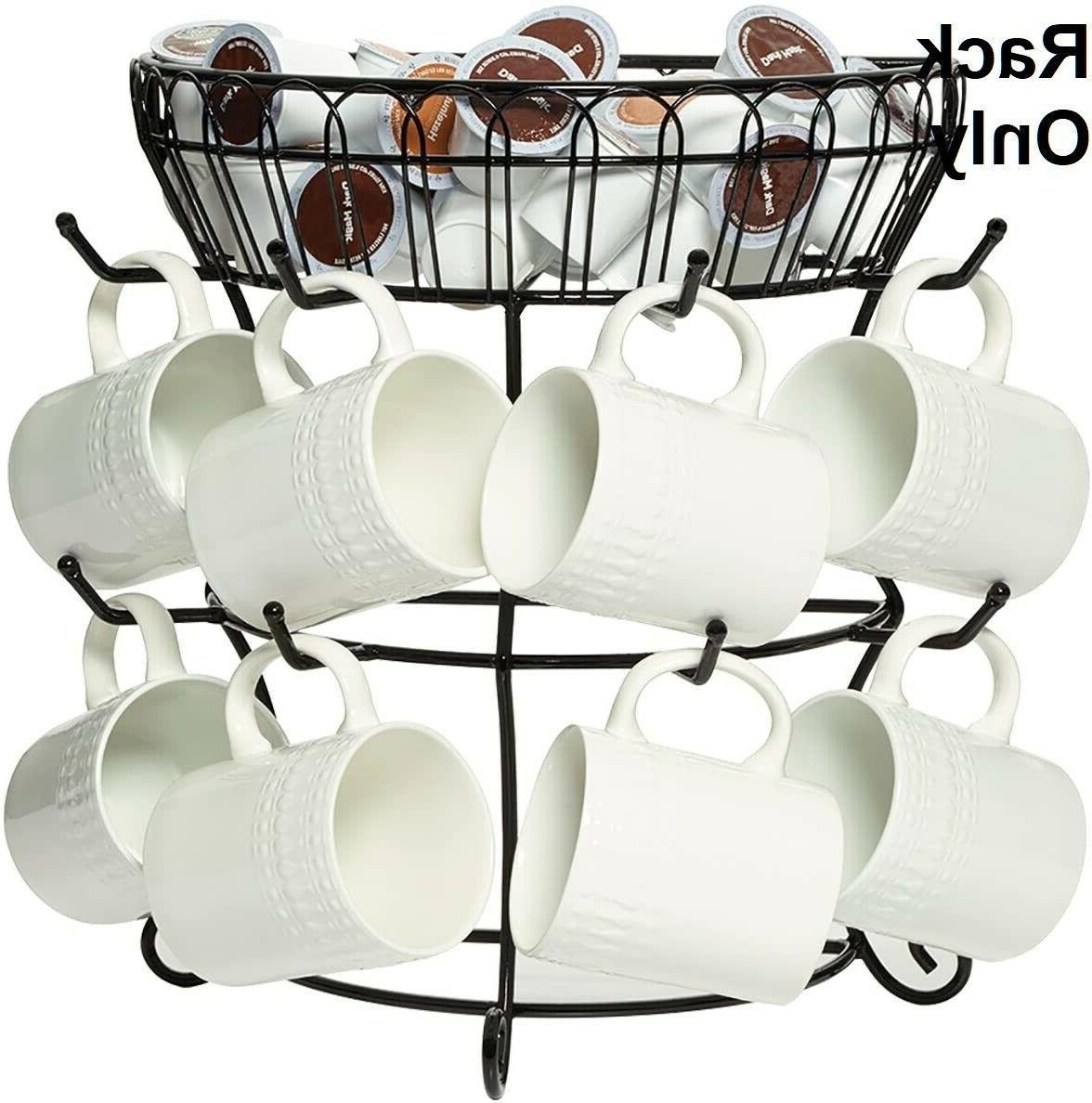 Wrought Iron 8 Mugs Tree W/Storage Basket Coffee Tea Pods Ra