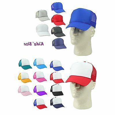 Youth Trucker Hat Ball Cap Mesh Kids Blank Plain S XS Red Bl
