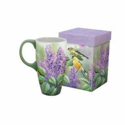 "LANG - 18 oz. Ceramic Latte Mug - ""Songbirds - Goldfinches a"