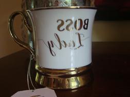 Large Coffee Mug By 10 Strawberry Street White Gold Trim New