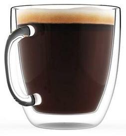 Large Coffee Mug Double Wall Glass 16 oz Dishwasher & Microw