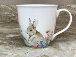 Large Coffee Mug Easter Parade. Bunny And Flowers. Ciroa Qua