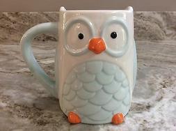 Large Coffee Mug Light Blue And White. Really Cute Owl. New.