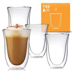 Latte Cups Double Walled Coffee Glasses Set of 4 - Clear Gla