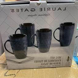 Laurie Gates Stoneware Mug Set of 4 Blue Embossed Coffee Cup
