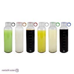 Pratico Kitchen 18oz Leak-Proof Glass Bottles, Juicing Conta
