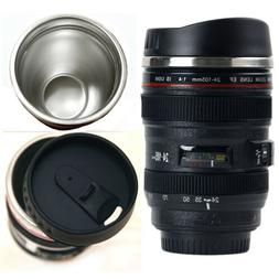 Camera Lens Cup Coffee Travel Mug Thermos Stainless Steel, L