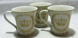 222 Fifth Les Etoiles Crown Gold Porcelain Coffee Mugs Set o