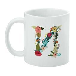 Letter N Floral Monogram Initial White Mug