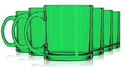 Libbey Emerald Green Jumbo Coffee Mug Glasses 13 oz. set of
