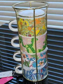 Lilly Pulitzer Target 2019 XXO 4 Porcelain Stacking Espresso