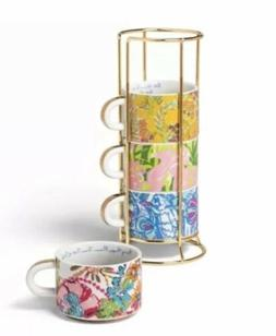 LILLY PULITZER Target 8.8 Oz Espresso Stacking Cup Mugs Set
