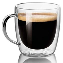 Set Of 2 Mugs - 14 oz Large Coffee Mug Double Wall Glass, Cl