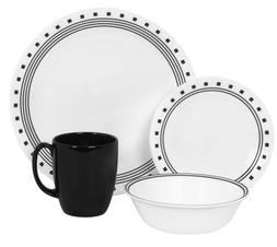 Corelle Livingware City Block 16-Piece Dinnerware Set, Micro
