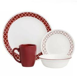 Corelle Livingware Crimson Trellis 16 Piece Dinnerware Set N
