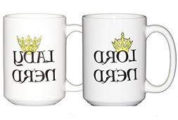 Lord Nerd - Lady Nerd - Geeky Coffee Mug Set - TWO MUGS - Ne