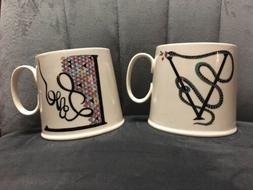 Lot 2 Anthropologie Mugs Monogram Alphabet Letter V & L LOVE