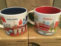 LOT OF 2 Starbucks Mugs, LONDON & ENGLAND «You Are Here» C