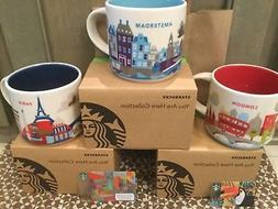LOT OF 3 Starbucks Mugs, LONDON, PARIS & AMSTERDAM «You Are
