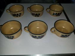 "Lot of 6 Pfaltzgraff FOLK ART  TAN & BLUE 5"" SOUP MUG* set"