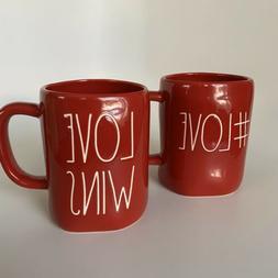 Rae Dunn #LOVE & LOVE WINS Red Coffee Tea Mug Valentine's Da