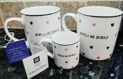 Love is Love Coffee/Tea Mugs set of 2 + Espresso cup - NEW