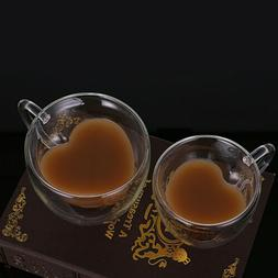 Lovers Heart Double Wall Cup Coffee Glass Tea milk Mugs Espr