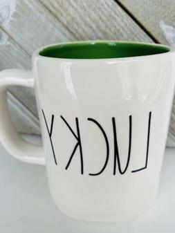 Rae Dunn LUCKY Mug St. Patrick's Day with Green Interior HTF