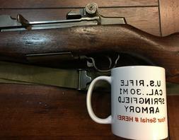 M1 Garand PERSONALIZED Coffee Mug with your Serial # WWII Ko