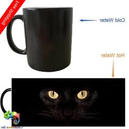 Magic Black Cat heat changing color mugs magic coffee mug no