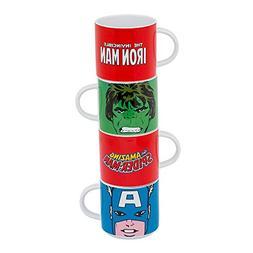 Vandor Marvel Comics 4 Piece Stacking Ceramic Mug Set, 10 Ou