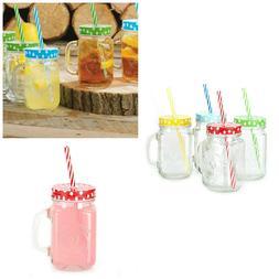 Mason Jar Mugs with Handle, SILVER Lid and Plastic Straws. 1