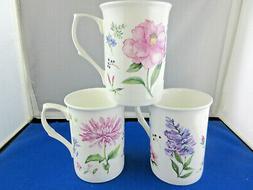 MEADOW FLOWERS SET OF 3 ENGLISH MADE FINE BONE CHINA MUGS, A