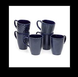 Member's Mark Ceramic Textured Stoneware Mugs, Set of 6, Blu