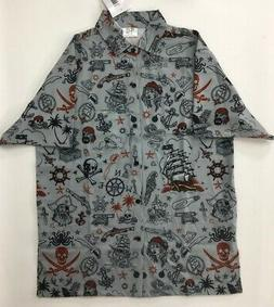 Funny Guy Mugs Mens Hawaiian Shirt Gray Pirate Print Stretch