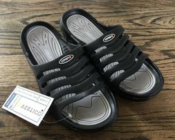 VERTICO Mens Shower and Pool Slide On Sandal, Black w/Gray U