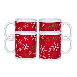 Merry Christmas Snowflake Red 10 Ounce Ceramic Holiday Coffe
