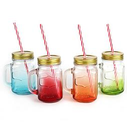 Mix Colors Mason Jar Mugs with Tin Lid and Plastic Straws. 1