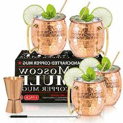 Moscow Mule Copper Mugs - Set of 4-100% HANDCRAFTED - Food S