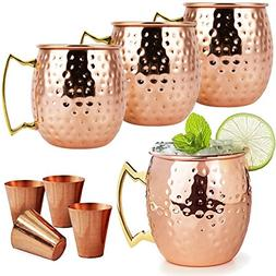 Moscow Mule Copper Mugs - 8 Piece Set - Mule Mugs Set of 4 w