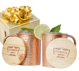 Advanced Mixology Moscow Mule Gift Set 100% Pure Copper Mugs