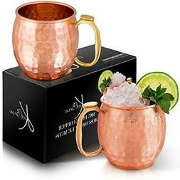KoolBrew Moscow Mule Copper Mugs Gift Set of 2, 100% Pure So