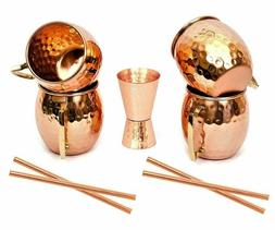 Moscow Mule Copper Mugs Hammered Barrel Solid 16 Oz Cups Dri