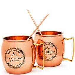 MOSCOW MULE COPPER MUGS Set of 2 100% HANDCRAFTED Food Safe